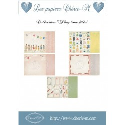 "Set de 5 Feuilles ""Play time fille"""