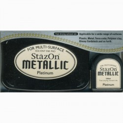 Stazon Metallic Uninked Pad & Inker Kit, Platinium