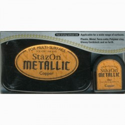 Stazon Metallic Uninked Pad & Inker Kit COPPER