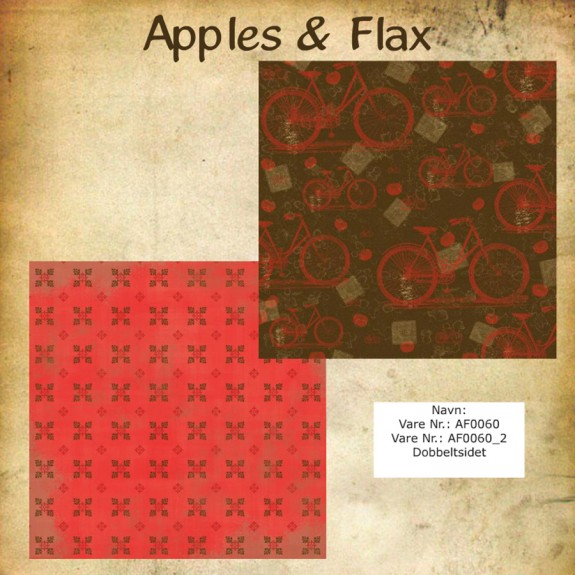 "Papier scrap ""Apples & Flax"" bicyclette"